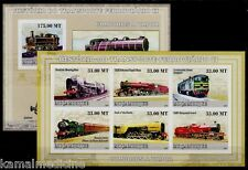 Pannier locomotive, Trains, Railways, Mozambique 2009 MNH Imperf MS+SS set