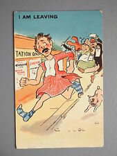 R&L Postcard: HG Glen Comic, 1913, I am Leaving, Taxman, Running