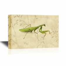 wall26 - Canvas Wall Art - A Praying Mantis on Floral Background - 12x18 inches