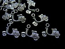10 Pcs -  Tibetan Silver Motorcycle Bike Moped Charms Pendant Craft i175
