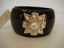 Kenneth Jay Lane Faux Pearl & White Stone Cluster Bangle Bracelet Black Gold New