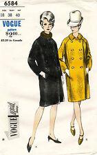 1960's VTG VOGUE Misses' Coat Pattern 6584 Size 18 UNCUT
