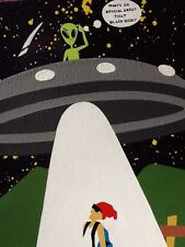 Original Artwork UFO Alien Abduction Nike,Holy Bible (Looks To Be Signed *Ozlee*