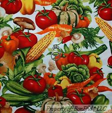 BonEful Fabric FQ Cotton Quilt White Green Red Vegetable Corn Tomato Mushroom Lg