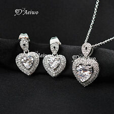18K WHITE GOLD GF SWAROVSKI CRYSTAL NECKLACE STUD EARRINGS HEART WEDDING SET