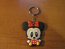 Baby MINNIE MOUSE Automobile Keychain Key Chain PVC Rubber FOB with Metal Ring