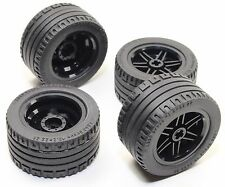 LEGO 8pc Technic BLACK Wheel and Tire SET (Mindstorms nxt ev3 tyre) 56145 44309