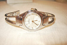 LADIES ANNE KLEIN SS BANGLE BRACELET WATCH -NEW BATTERY - #10/3745