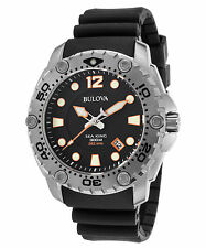 Bulova 96B228 Men's Sea King Black Rubber and Dial Orange Accent SS