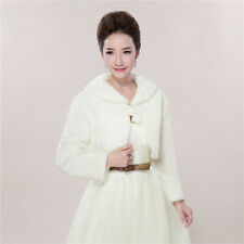 White Wedding Bridal Shawls Faux Fur Shrug Bolero Jacket Wrap Shawls Winter Coat