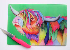 Unique Glass Chopping Board with a HIGHLAND COW  design by artist Maria Moss
