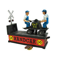 SP1811 - Railroad Handcar Collectors' Die Cast Iron Mechanical coin Bank