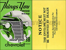 1938 Chevrolet Car Owners Manual Package 38 Chevy Owner Guide Book Master