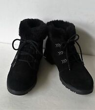 Sporto Size 8M Black Waterproof Suede Lace Up ankle boots womens ladies shoes