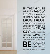 Family Rules Love House Wall Stickers Quote Decal Art Mural Paper Vinyl Decor