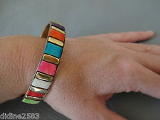 ANCIEN BRACELET JONC EN OS MOZAIQUE MULTICOLORE LAITON DORE BRASS BONE BANGLE