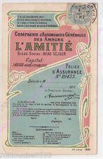 CPA FANTAISIE HUMOUR L AMITIE COMPAGNIE ASSURANCES GENERALES DES AMOURS ca1906