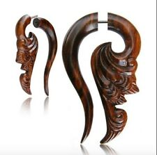 "PAIR 18G SONO WOOD FAUX FAKE CHEATER PLUGS CARVED 2"" INCH TRIBAL GAUGES TALONS"