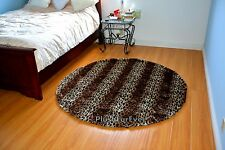 5' Round Faux Fur Brown Leopard Stripes Nursery Rug Baby Shower Gift Area Rug
