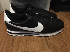 New Men's Nike Cortez Basic Leather 13 Black White Shoes