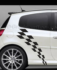 Clio Car Body Stickers Racing Checker Flag Side Stripe Vinyl Graphic Decals