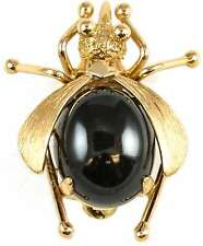 Natural Black Nephrite Jade Bee Pin
