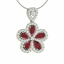 Natural Genuine Ruby & Diamond Flower Pendant / Necklace in White Gold- 1.97 Ct