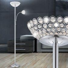35 Watt LED Decken Fluter Steh Lampe Chrom klare Kristalle Lese Leuchte Strahler
