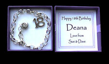 21ST 18TH BIRTHDAY SILVER CHARM BRACELET IN PERSONALISED GIFT BOX ANY MESSAGE