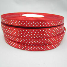 NEW Bulk 50 Yards 3/8 9mm Polka Dot Ribbon Satin for Craft Supplies Red colors