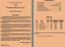 Packard 1940 - Information About 1940 Packard Motor Cars for Registration Purpos