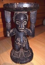 Antique African Luba Carved Wood Stool Chair Standing Male Figure Congo, Africa
