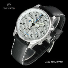 Junkers 42mm Hugo Junkers German Made Swiss Alarm Chronograph Lthr Strap Watch