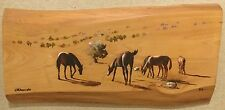 Framed Painting of Horses on Block of Wood - Signed