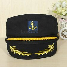 Black Unisex Skipper Sailors Navy Captain Boating Military Yacht Hat Cap Costume