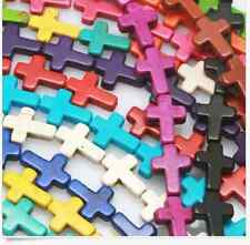 free ship 30pcs mix colour turquoise cross charms spacer beads