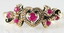 "DIVINE 9K GOLD VINTAGE INS RUBY ""HEART with WINGS ""RING"