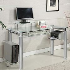 Glass Clear Chrome Silver Chrome Accent Side Shelf Keyboard Tray Computer Desk