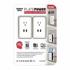 Sharper Image Surge Protected USB Wall Plate Charger New!!!