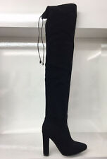 LADIES WOMENS BLACK THIGH HIGH SUEDE FAUX HIGH HEEL BOOTS SHOES SIZE 8