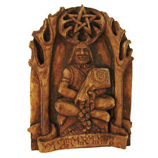 Cernunnos Wiccan Horned God Plaque Wood Finish Dryad Design Wicca Pagan Statue