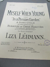 Vintage Voice and Piano Music Sheet Myself when young by Liza Lehmann