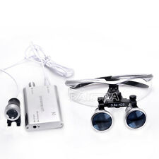 Dental Binocular Loupe 3.5X + Portable LED Headlight Lamp Surgical Silver Italy