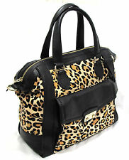 Cole Haan Zoe Leopard Haircalf & Black Leather Structured Satchel Purse B39423