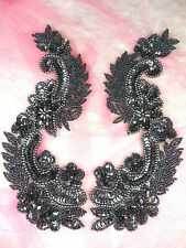 0180 Sequin Appliques Gunmetal Mirror Pair Beaded Patch Sewing Motif 8.25""