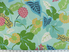 Drapery Upholstery Fabric In/Outdoor Floral 100K Dbl Rubs - Turquoise Matelassé