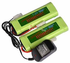 2 pcs 7.2V 3800mAh Ni-Mh rechargeable battery pack RC Tamiya Plug + Charger USA