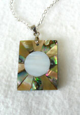 28mm oblong abalone, m-o-p shell pendant - 18'' chain