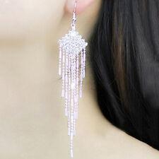 Long Drop Earrings Diamante Bridal Tassel Rhinestone Silver Dangle Chandelier UK