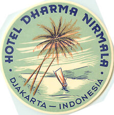 Hotel Dharma Nirmala ~JAKARTA / INDONESIA~ Beautiful Old ART DECO Luggage Label